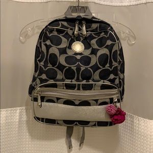 Coach Navy/Silver Large Backpack